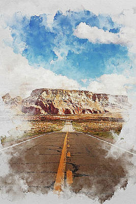 Painting - Highway In The Desert - 03 by Andrea Mazzocchetti