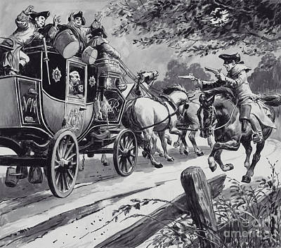 Painting - Highwayman Robbing A Stagecoach by English School