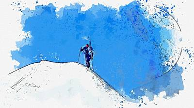 Fine Dining - Hike to Summit   watercolor by Ahmet Asar by Celestial Images