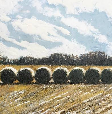 Mixed Media - Hillsboro Haybales by Anne Stine