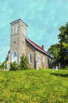 Digital Art - Hilltop Country Church by Leslie Montgomery