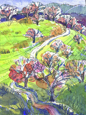 Painting - Hilly Landscape In California by Judith Kunzle