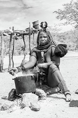 Photograph - Himba Woman Cooking by Mache Del Campo