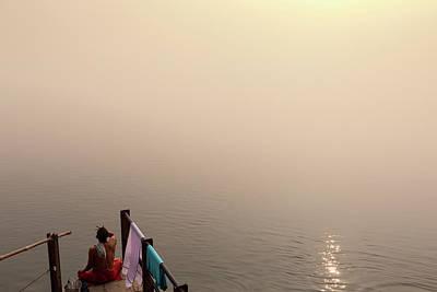Ganges Photograph - Hindu Brahmin Meditating In The Fog by Marji Lang
