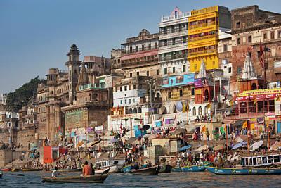Ganges Photograph - Hindu Pilgrims Bathe River Ganges by Tim Graham