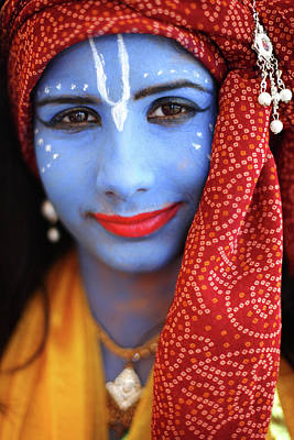 Krishna Wall Art - Photograph - Hindus Gather In Watford For The by Dan Kitwood