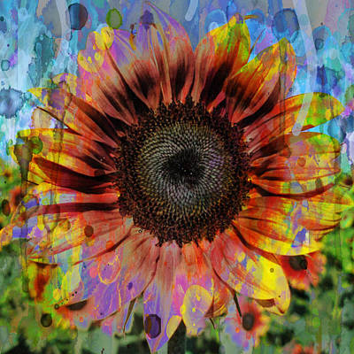 Painting - Hip Hop Sunflower 48x48 Watercolor by Robert R Splashy Art Abstract Paintings