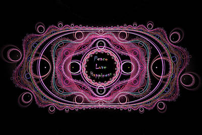 Digital Art - Hippie Lace - Peace, Love, Happiness by Angie Tirado