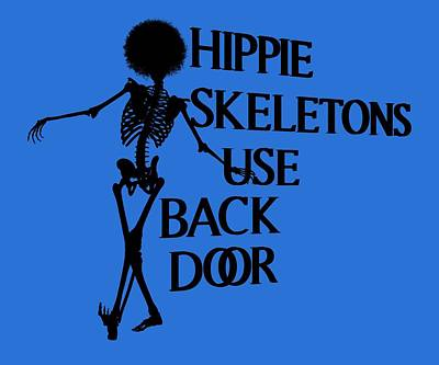 Royalty-Free and Rights-Managed Images - Hippie Skeletons Use Back Door PNG by Betsy Knapp