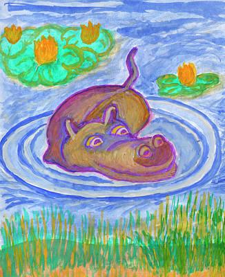 Painting - Hippopotamus by Dobrotsvet Art