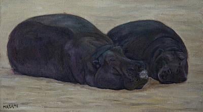 Painting - Hippopotamus by Masami IIDA