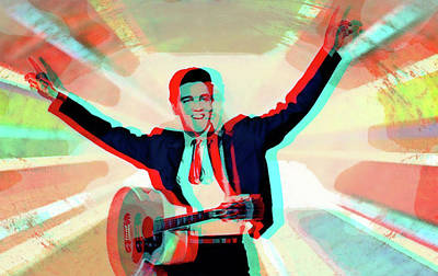 Digital Art - His Ray Elvis 3d by Jayime Jean