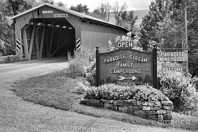 Photograph - Historic Adair Covered Bridge Black And White by Adam Jewell