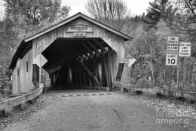 Photograph - Historic Cambridge Junction Covered Bridge Black And White by Adam Jewell