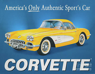 Photograph - Historic Chevy Corvette Sign by Kevin McCarthy