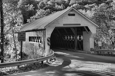 Photograph - Historic Dummerston Covered Bridge Black And White by Adam Jewell