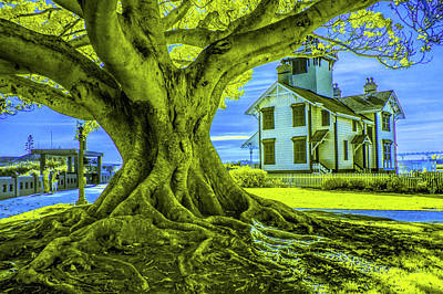 Photograph - Historic Fermin Point Lighthouse In Infrared By Los Angeles California by Randall Nyhof