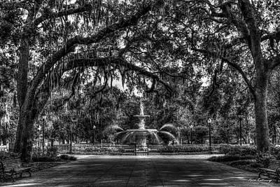 Photograph - Historic Forsyth Park Fountain B W Forsyth Park Savannah Georgia Art by Reid Callaway