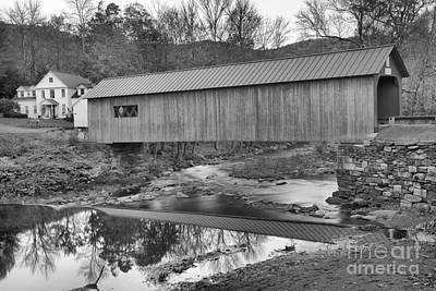 Photograph - Historic Green River Covered Bridge Black And White by Adam Jewell