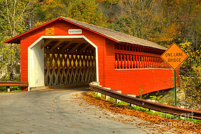 Photograph - Historic Henry Covered Bridge by Adam Jewell