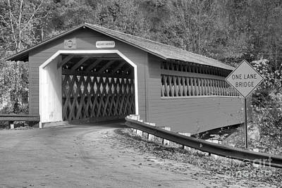 Photograph - Historic Henry Covered Bridge Black And White by Adam Jewell