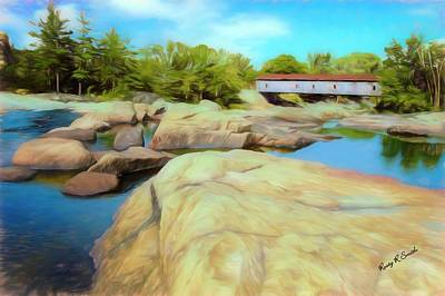 Digital Art - Historic Jay Covered Bridge Spanning The Ausable River In The Ad by Rusty R Smith
