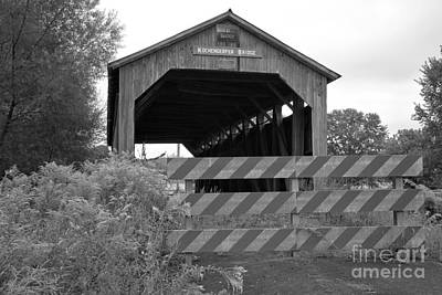 Photograph - Historic Kochenderfer Covered Bridge Black And White by Adam Jewell