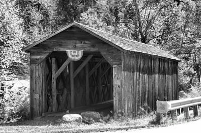 Photograph - Historic Mcdermott Covered Bridge Black And White by Adam Jewell