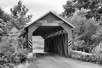 Photograph - Historic Saville Covered Bridge Black And White by Adam Jewell