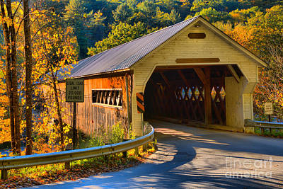 Photograph - Historic Wooden Dummerston Covered Bridge by Adam Jewell