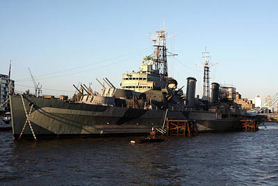 Photograph - Hms Belfast On The Thames by Aidan Moran