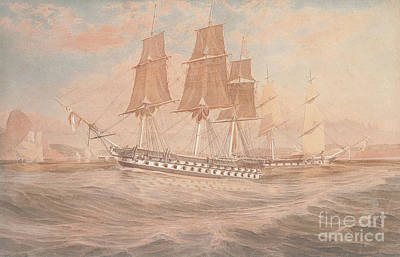 Painting - Hms Ganges, And Thetis Off Rio De Janeiro by Emeric Essex Vidal