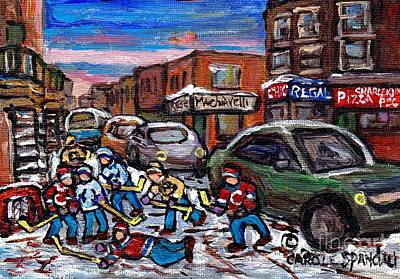Painting - Hockey Art Pointe St Charles Street Scene Chic Regal Machiavelli Charlevoix Pizza C Spandau Artist   by Carole Spandau