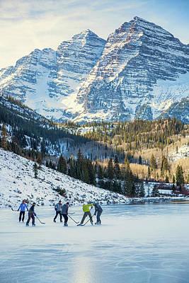 Hockey On Maroon Lake Maroon Bells Aspen Colorado Art Print