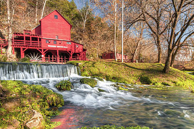 Photograph - Hodgson Water Mill And Bryant Creek Waterfall - Rural Farmhouse by Gregory Ballos