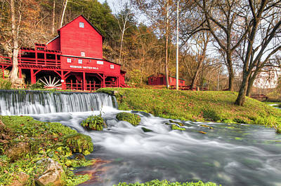 Photograph - Hodgson Water Mill And Flowing Bryant Creek Landscape by Gregory Ballos