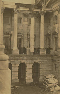 Photograph - Hoisting Final Marble Column At United States Capitol by Unknown