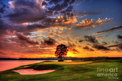 Photograph - Hole In One Golf Sunset The Landing Golf Art  by Reid Callaway