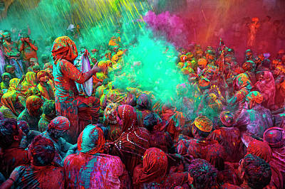 India Photograph - Holi Festival Celebrations In Mathura by Poras Chaudhary