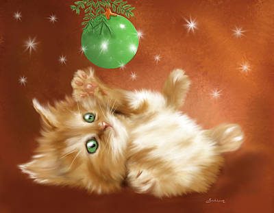 Wall Art - Painting - Holiday Kitty by Sannel Larson