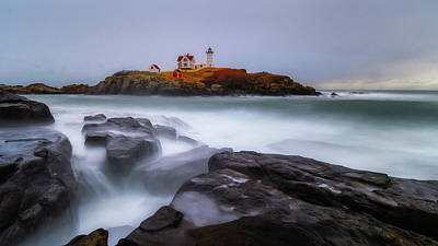 Photograph - Holiday Lights, Nubble Lighthouse York Me. by Michael Hubley