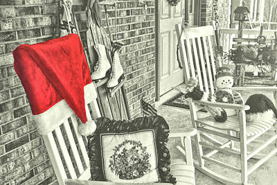 Holiday Porch Art Print by JAMART Photography
