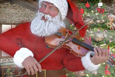 Fiddle Wall Art - Digital Art - Holiday Santa Playing Violin Custom by Betsy Knapp