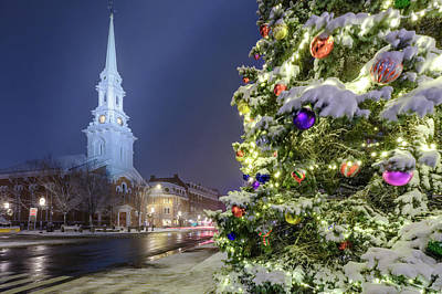 Photograph - Holiday Snow, Market Square by Jeff Sinon
