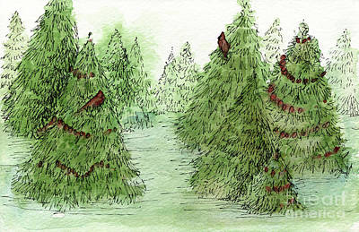 Painting - Holiday Trees Woodland Landscape Illustration by Laurie Rohner