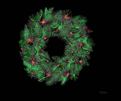Digital Art - Holiday Wreath Greens by Bill Posner