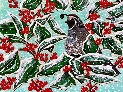 Painting - Holly Berry Quail by Jennifer Lake