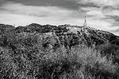 Photograph - Hollywood California Sign In The Hills - Black And White Edition by Gregory Ballos