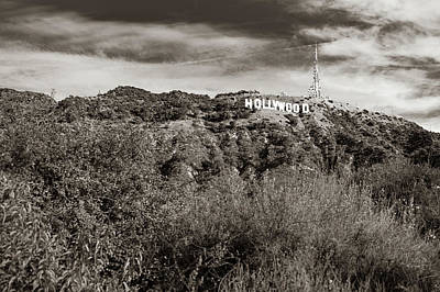 Photograph - Hollywood California Sign In The Hills - Sepia Edition by Gregory Ballos