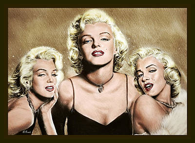 Musicians Drawings Rights Managed Images - Hollywood legends Marilyn Brown edit Royalty-Free Image by Andrew Read